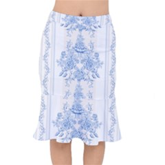 Beautiful,pale Blue,floral,shabby Chic,pattern Mermaid Skirt
