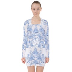 Beautiful,pale Blue,floral,shabby Chic,pattern V Neck Bodycon Long Sleeve Dress