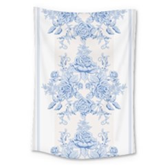 Beautiful,pale Blue,floral,shabby Chic,pattern Large Tapestry