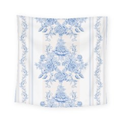 Beautiful,pale Blue,floral,shabby Chic,pattern Square Tapestry (small)