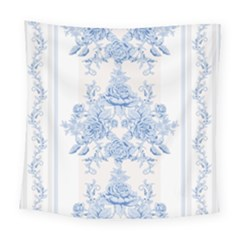 Beautiful,pale Blue,floral,shabby Chic,pattern Square Tapestry (large)
