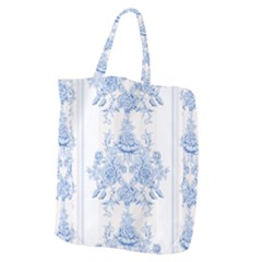 Beautiful,pale Blue,floral,shabby Chic,pattern Giant Grocery Zipper Tote