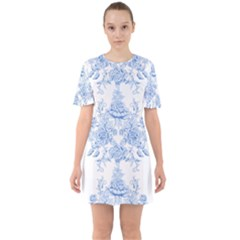 Beautiful,pale Blue,floral,shabby Chic,pattern Sixties Short Sleeve Mini Dress