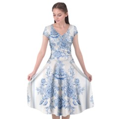 Beautiful,pale Blue,floral,shabby Chic,pattern Cap Sleeve Wrap Front Dress