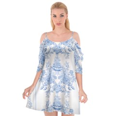 Beautiful,pale Blue,floral,shabby Chic,pattern Cutout Spaghetti Strap Chiffon Dress