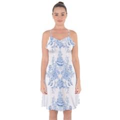 Beautiful,pale Blue,floral,shabby Chic,pattern Ruffle Detail Chiffon Dress