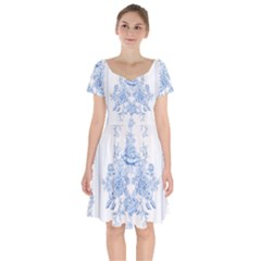 Beautiful,pale Blue,floral,shabby Chic,pattern Short Sleeve Bardot Dress