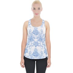 Beautiful,pale Blue,floral,shabby Chic,pattern Piece Up Tank Top