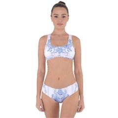 Beautiful,pale Blue,floral,shabby Chic,pattern Criss Cross Bikini Set