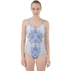 Beautiful,pale Blue,floral,shabby Chic,pattern Cut Out Top Tankini Set