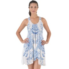 Beautiful,pale Blue,floral,shabby Chic,pattern Show Some Back Chiffon Dress