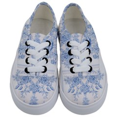 Beautiful,pale Blue,floral,shabby Chic,pattern Kids  Classic Low Top Sneakers