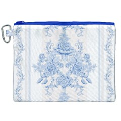 Beautiful,pale Blue,floral,shabby Chic,pattern Canvas Cosmetic Bag (xxl)