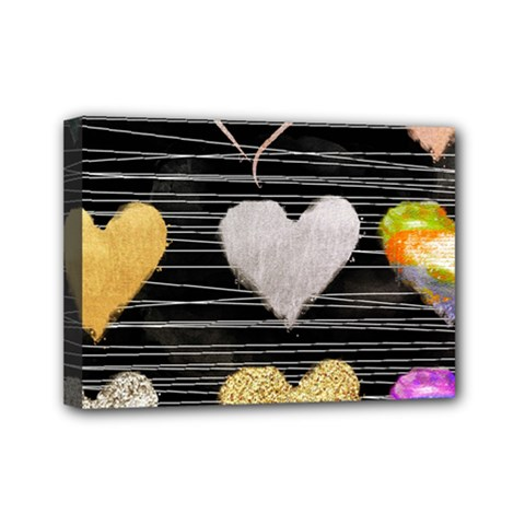Modern Heart Pattern Mini Canvas 7  X 5