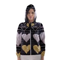 Modern Heart Pattern Hooded Wind Breaker (women)