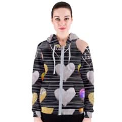 Modern Heart Pattern Women s Zipper Hoodie