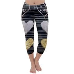 Modern Heart Pattern Capri Winter Leggings