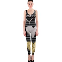 Modern Heart Pattern One Piece Catsuit