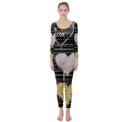 Modern Heart Pattern Long Sleeve Catsuit