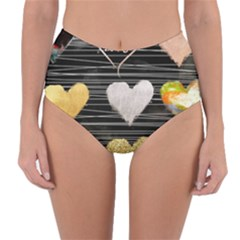 Modern Heart Pattern Reversible High Waist Bikini Bottoms