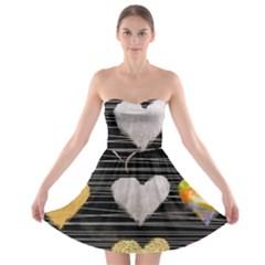 Modern Heart Pattern Strapless Bra Top Dress
