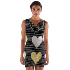 Modern Heart Pattern Wrap Front Bodycon Dress