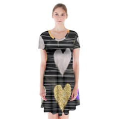 Modern Heart Pattern Short Sleeve V Neck Flare Dress