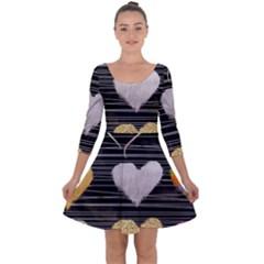 Modern Heart Pattern Quarter Sleeve Skater Dress