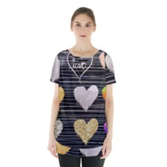 Modern Heart Pattern Skirt Hem Sports Top