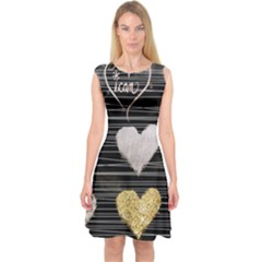 Modern Heart Pattern Capsleeve Midi Dress