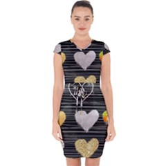 Modern Heart Pattern Capsleeve Drawstring Dress