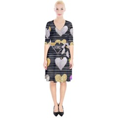Modern Heart Pattern Wrap Up Cocktail Dress