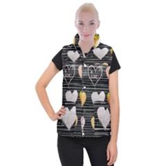 Modern Heart Pattern Women s Button Up Puffer Vest