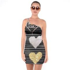 Modern Heart Pattern One Soulder Bodycon Dress