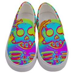 Rainbow Skeleton King Men s Canvas Slip Ons