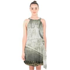 Vintage 1135014 1920 Halter Collar Waist Tie Chiffon Dress