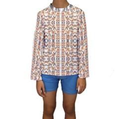 Multicolored Geometric Pattern  Kids  Long Sleeve Swimwear