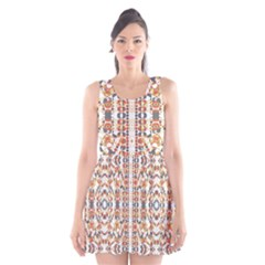 Multicolored Geometric Pattern  Scoop Neck Skater Dress