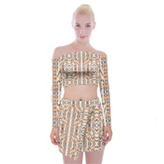 Multicolored Geometric Pattern  Off Shoulder Top With Mini Skirt Set
