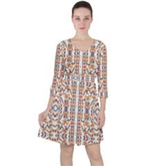 Multicolored Geometric Pattern  Ruffle Dress