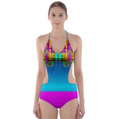 Sky Earth And Star Fall Cut Out One Piece Swimsuit