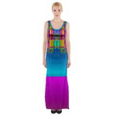 Sky Earth And Star Fall Maxi Thigh Split Dress