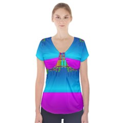 Sky Earth And Star Fall Short Sleeve Front Detail Top