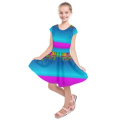 Sky Earth And Star Fall Kids  Short Sleeve Dress
