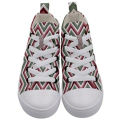 Chevron Blue Pink Kid s Mid Top Canvas Sneakers