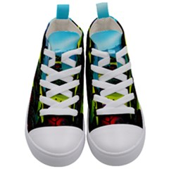 Morning Mist Kid s Mid Top Canvas Sneakers