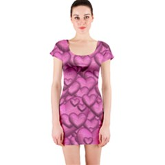 Shimmering Hearts Pink Short Sleeve Bodycon Dress