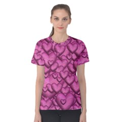 Shimmering Hearts Pink Women s Cotton Tee