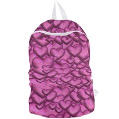 Shimmering Hearts Pink Foldable Lightweight Backpack