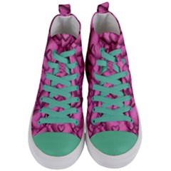 Shimmering Hearts Pink Women s Mid Top Canvas Sneakers
